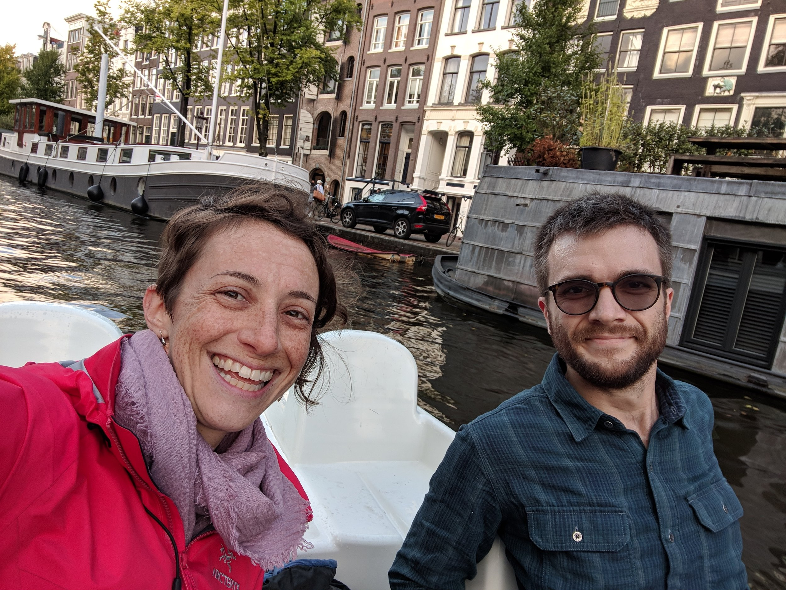 Getting a workout in a pedal boat on the canals in Amsterdam.  Confession: Noah did most of the work.