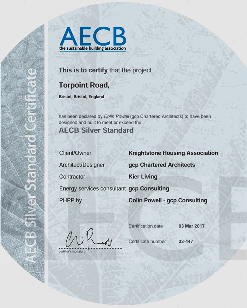 AECB Silver Standard Award received for Torpoint Housing in Bristol