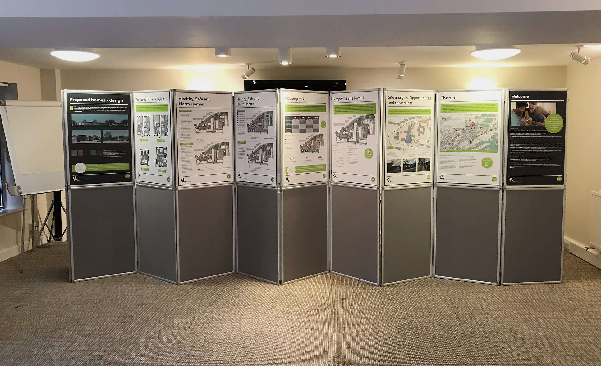 Consultation boards set up & ready to receive feedback at Corbet Close