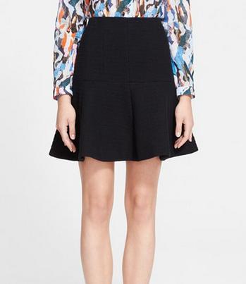 Carven Fancy Tweed Skirt black flared A line circle zip back