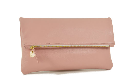 VINTAGE PINK Foldover Leather Clutch, Leather Clutch