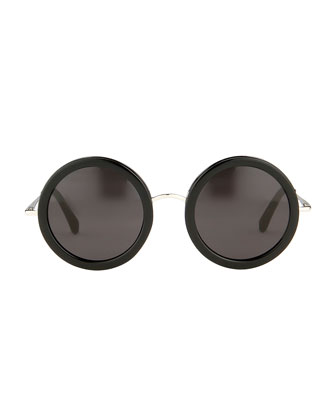 THE ROW Round Circle Sunglasses, Black