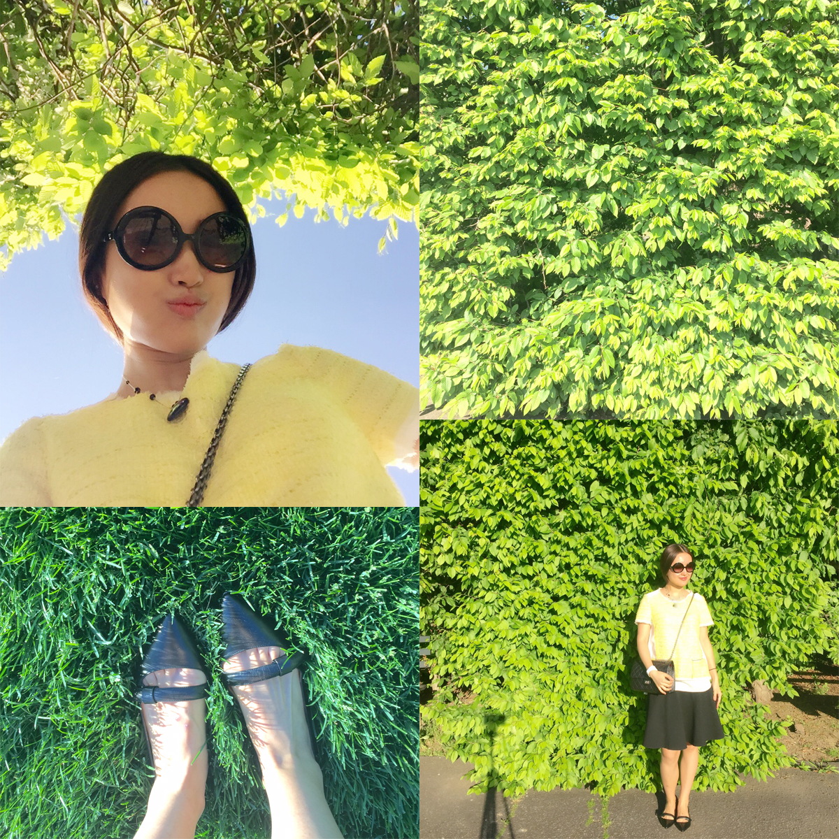 June Lemon Girl junelemongirl Fashion Style Blog blogger Neon yeloow tweed top silk chanel round sunglasses marc by marc jacobs black buckle flats strap black full circle wool skirt flared skirt chanel classic 2.55 New York Botanic Garden