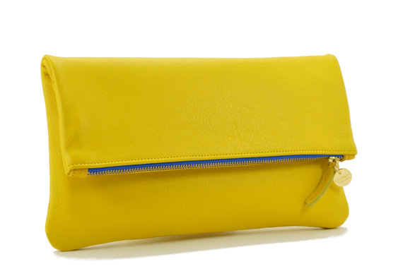 LEMON Yellow Foldover Leather Clutch, Clutch, Leather Clutch