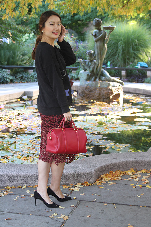 Moon-Star Embellished Cotton Sweatshirt with Lace Midi Skirt, Pointy Pumps, and Red Satchel, junelemongirl, street style,garden style, fashion blogger, fashion blog, nyc, street fashion, June Lemon Girl