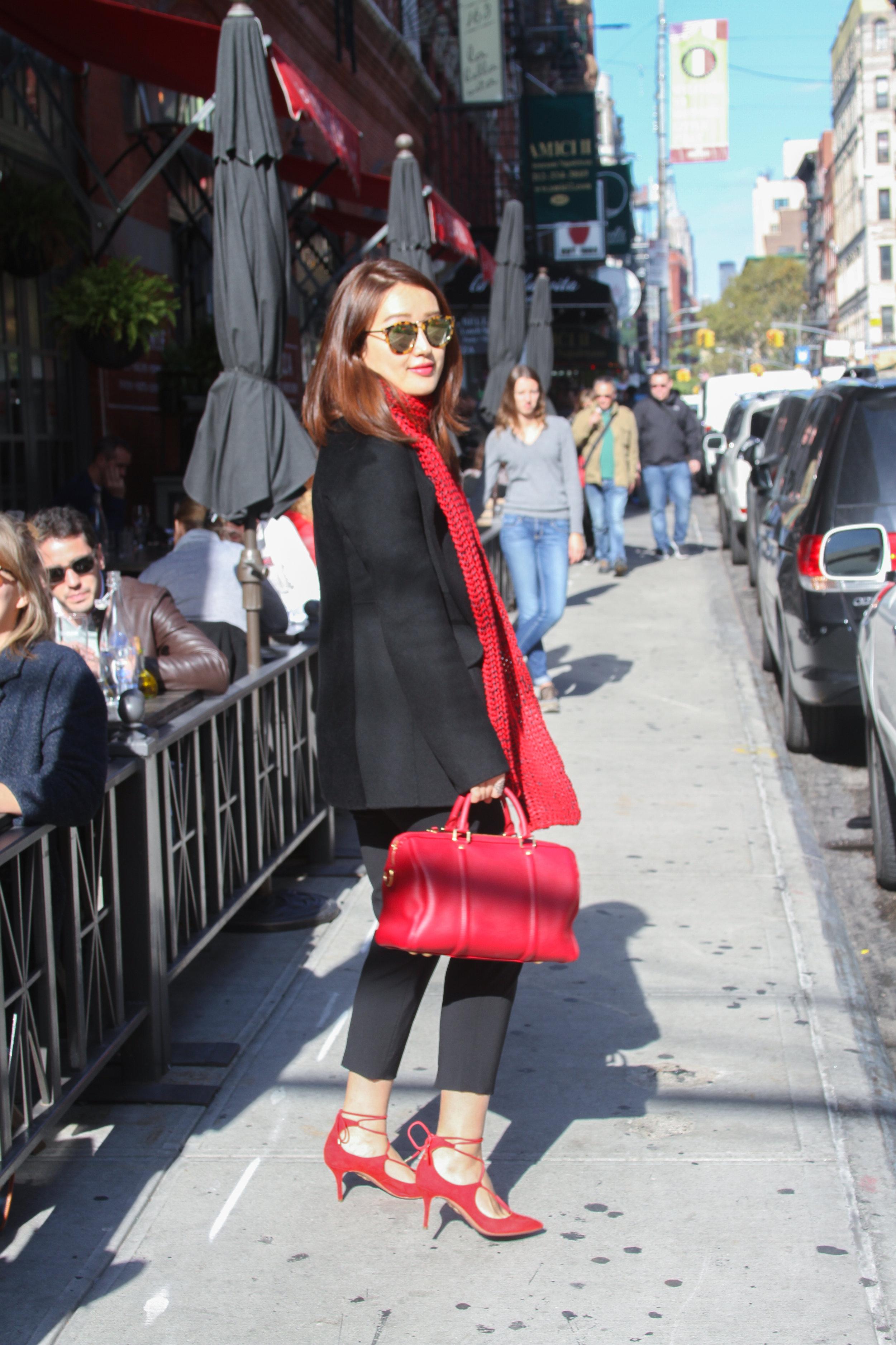 junelemongirl, june lemon girl, fashion blogger, street fashion, red scarf fashion, black coat fashion, red scarf street style, nyc street fashion, red lace up pumps, lace up pumps, red satchel, black cropped pants, red over black, aquazzura