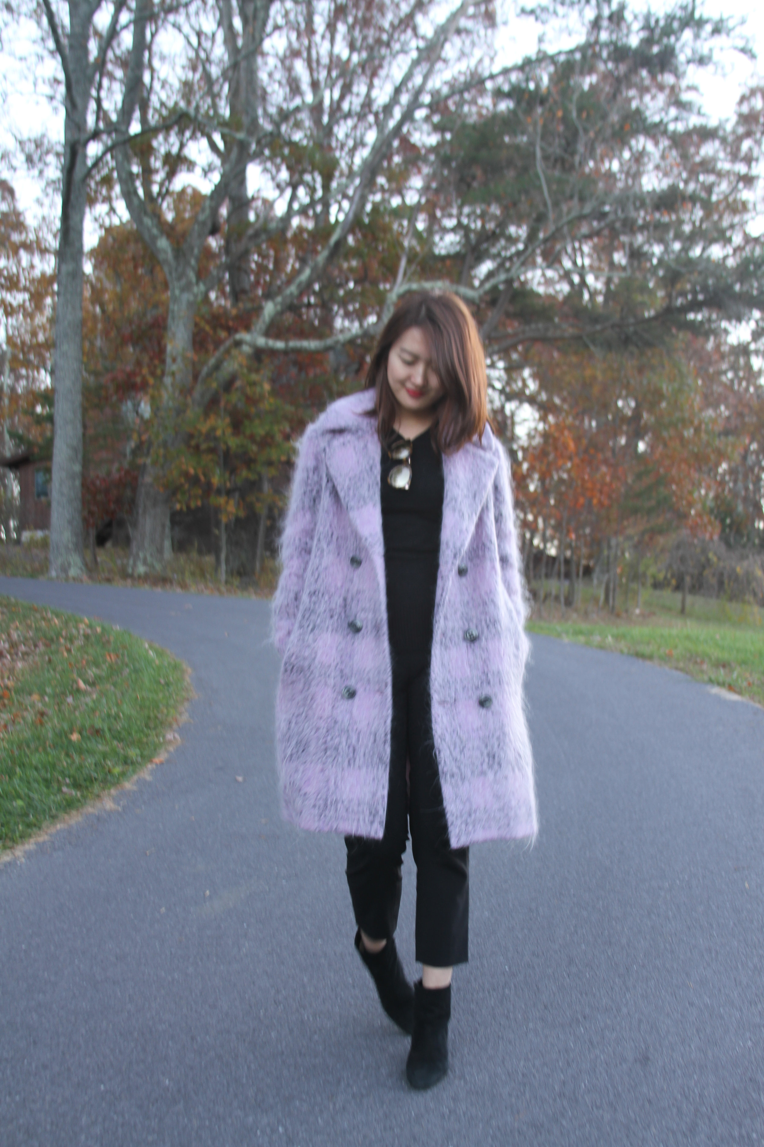 fashion blogger, winter fashion autumn fashion, winter street fashion, autumn street fashion, Violet Wool and Mohair Blend Coat, Styled with Black Fitted Sweater, Black Wool Cropped Pants, and Black Chunky Ankle Boots, junelemongirl, june lemon girl, nyc blogger, ootd, violet coat, purple coat