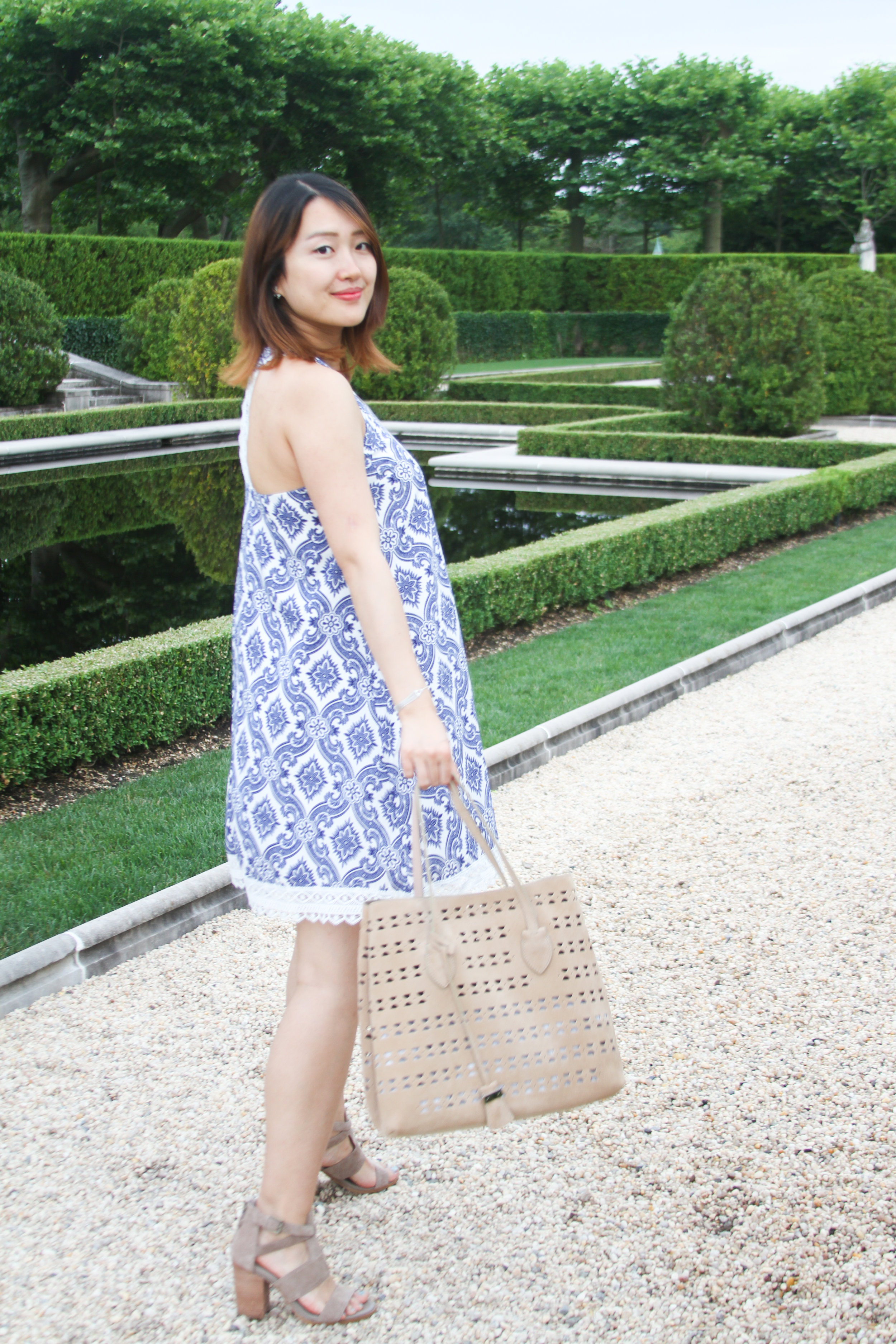 junelemongirl, fashion blogger,new york fashion blogger, june lemon girl, long island, oheka castle, blue dress, printed dress, Soieblu, printed shift dress, tile print dress, porceline print dress, lace dress, perforated tote, coccinelle bag, TOTE BAG IN PERFORATED SUEDE, suede tote bag, beige tote bag style, suede chunky sandals, hinge sandals, 'Cora' Block Heel Sandal, taupe sandals, new york street style, ootd, summer street fashion, a line dress, maternity look, maternity dress, mom style