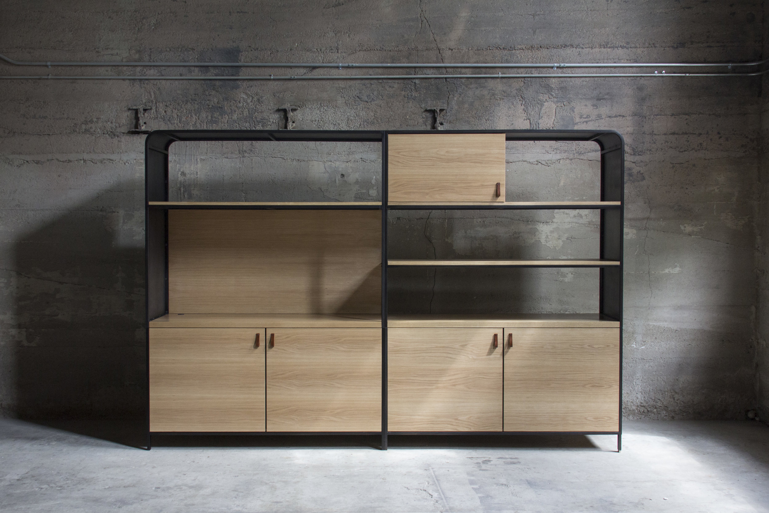 Blackened steel and oak cabinet by Synecdoche Design Studio for Rapt Studio