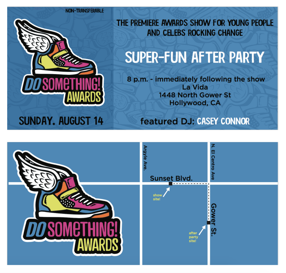 Ticket (front and back) for the VH1 Do Something Awards after party.