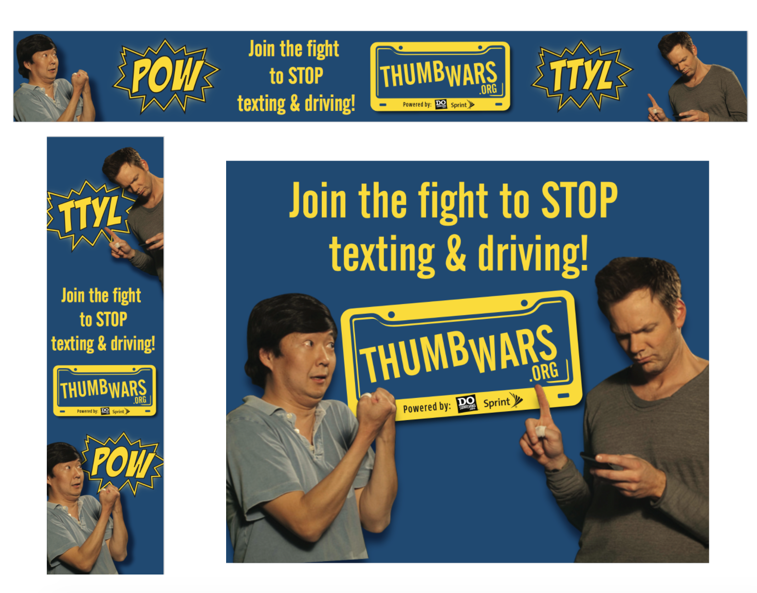 """""""Thumb Wars"""" anti-texting and driving campaign web ads featuring celebrity partners Joe McHale and Ken Jeong. Campaign was sponsored by Sprint."""