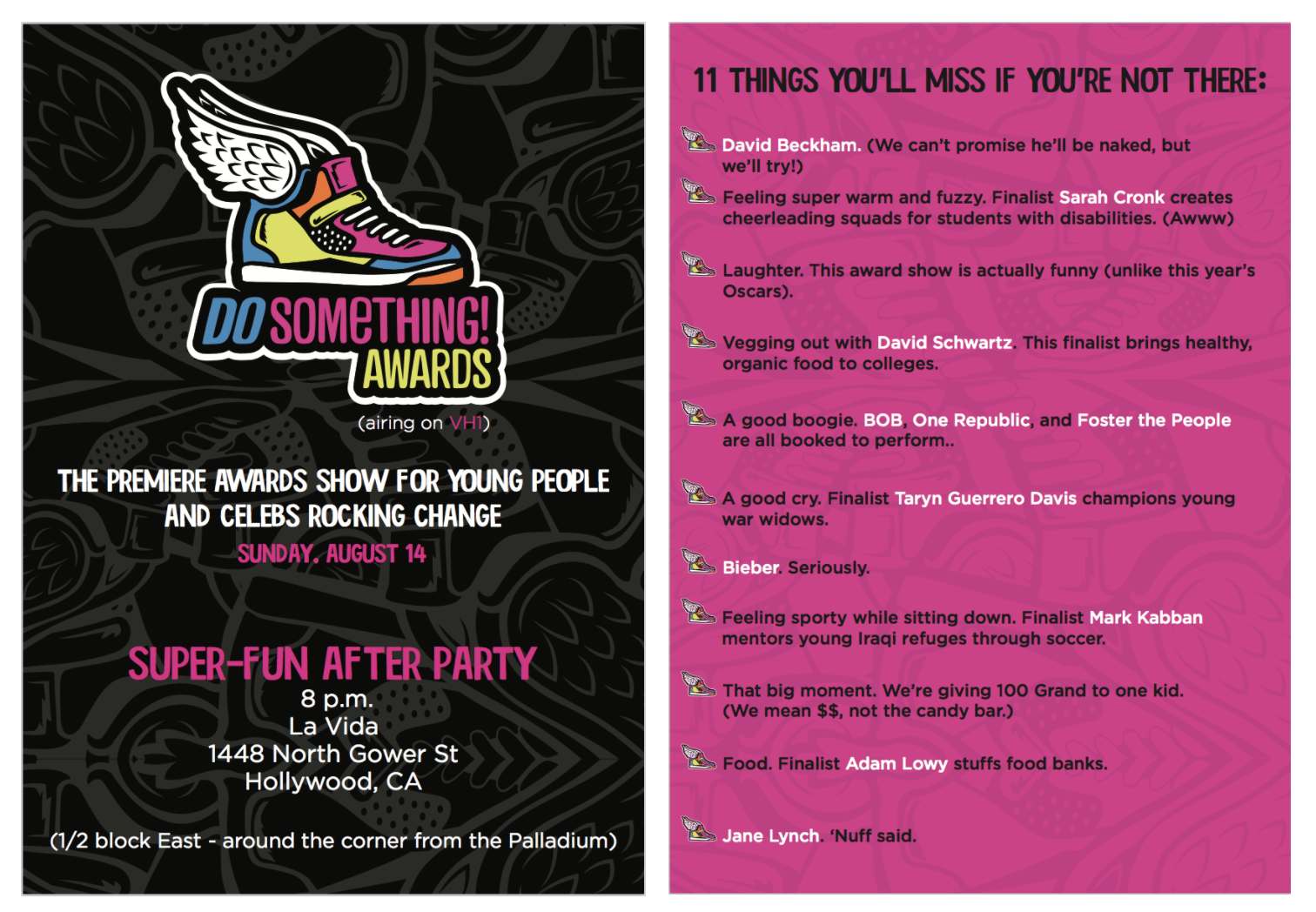 Flyer (front and back) for the VH1 Do Something Awards after party.