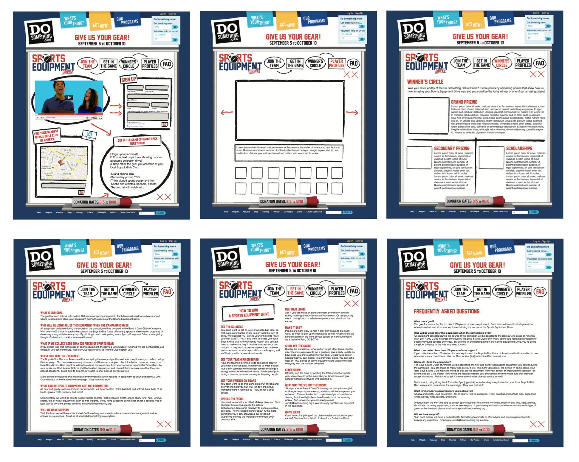 """Web layout and logo design for the """"Sports Equipment Drive"""" campaign."""