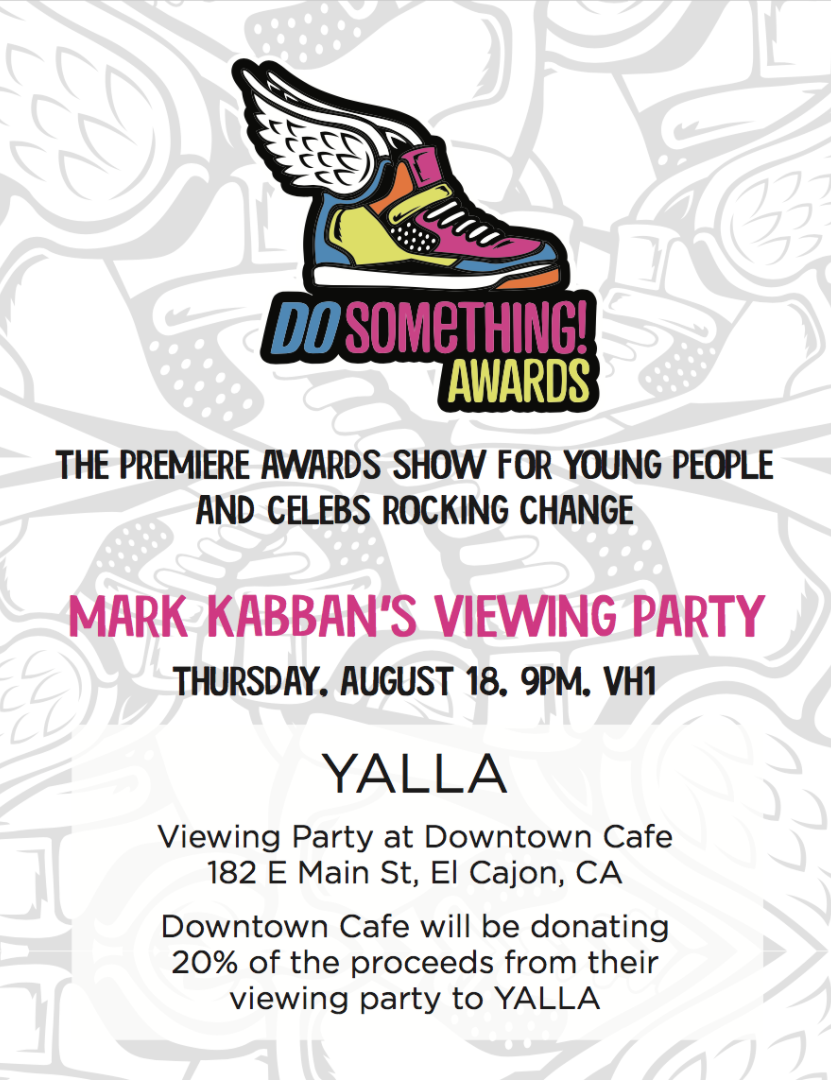 Flyer for the official viewing party event for Mark Kabban, a VH1 Do Something Awards finalist.