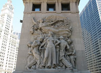 """""""Regeneration"""" bas relief  Courtesy of Friends of the Chicago River"""