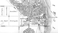 Map of Chicago, 1830  The original mouth of the Chicago River meandered to Lake Michigan