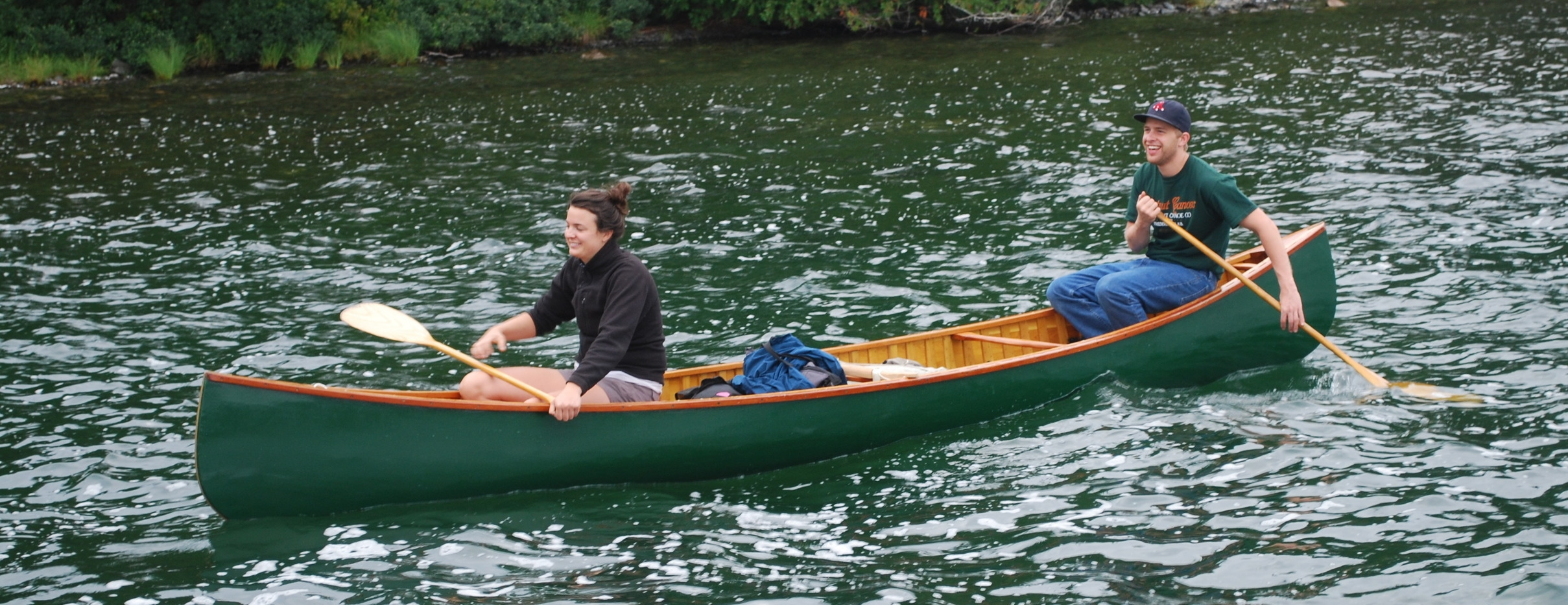 After finishing His canoe at home, Mr. Chris boots was thrilled to get his canoe on the water.
