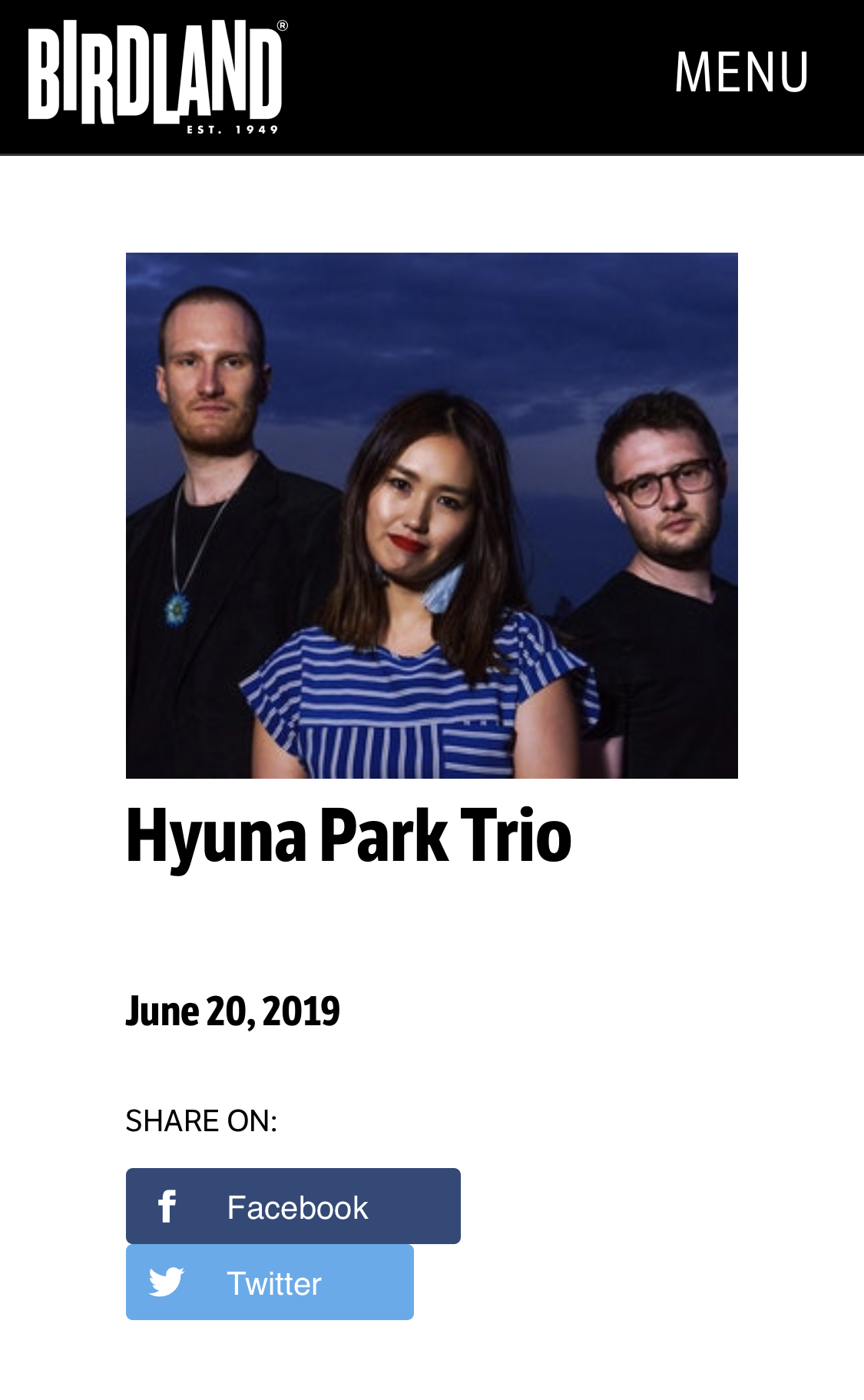 Trio at the Birdland - I have exciting news for the trio! We will play at Birdland, one of New York's most iconic nightclubs on June 20th, 5:30-7pm. We will play most of the songs from our new album Her Morning Waltz and will add a few more from the American song book.Please join us, invite your friends, share the event! Playing at Birdland is a special opportunity for the trio and Myles, Peter and I appreciate your support more than ever!