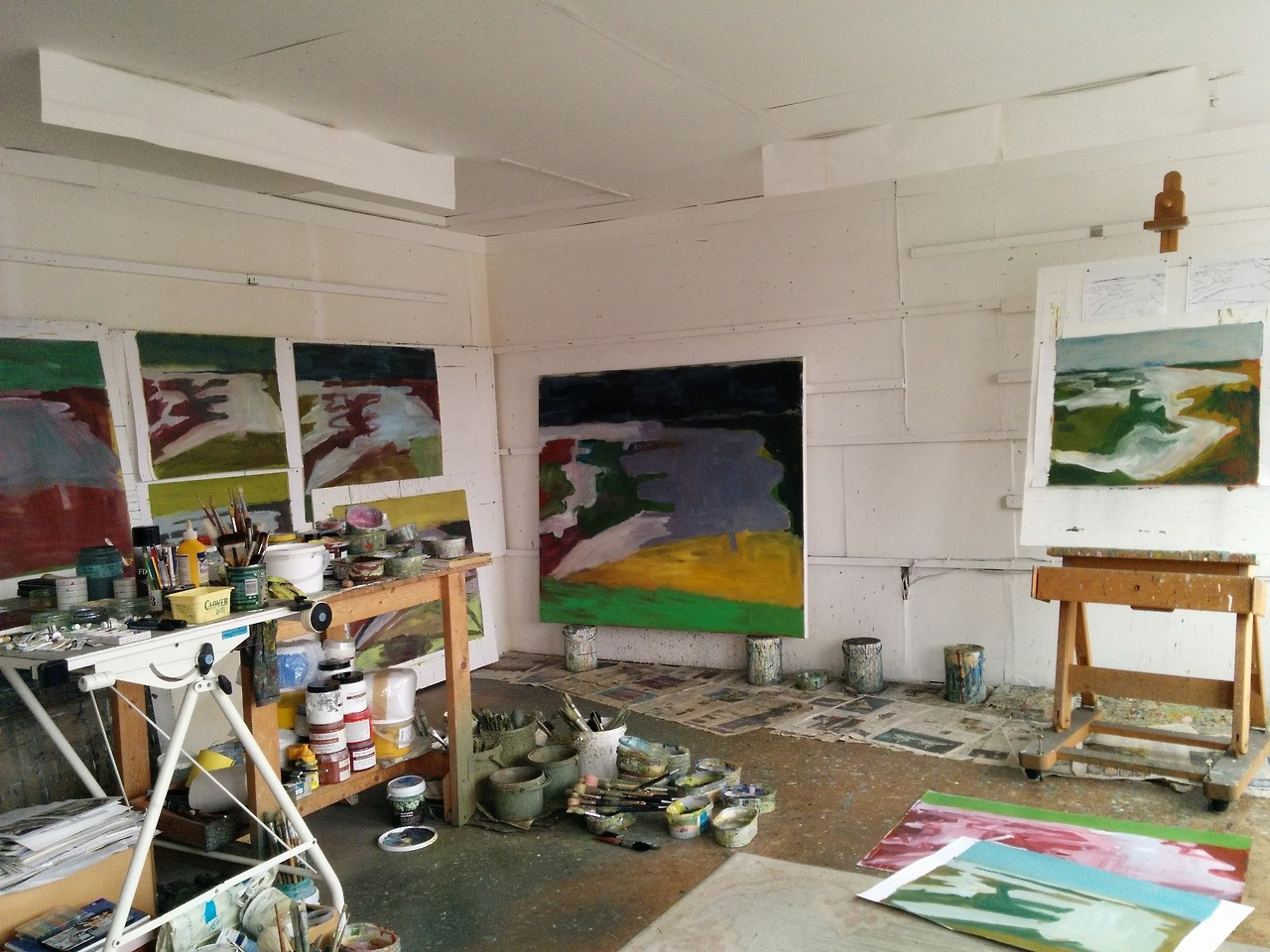 In the studio, working on ideas from drawings of the saltings and marshes.
