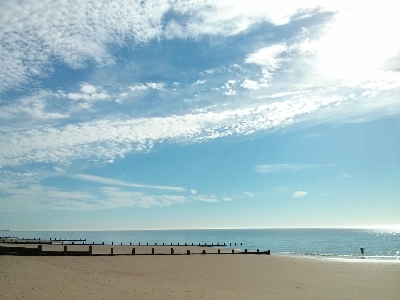 From yesterday: a fresh empty early morning Frinton beach; the start to an overwhelmingly hot and sticky day. Very thankful to live near the coast.