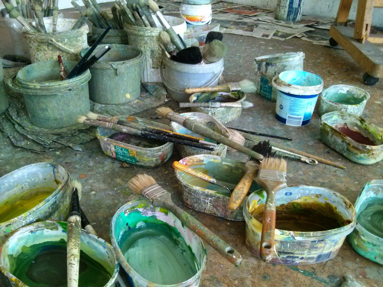 Part of the studio floor at the end of another day painting