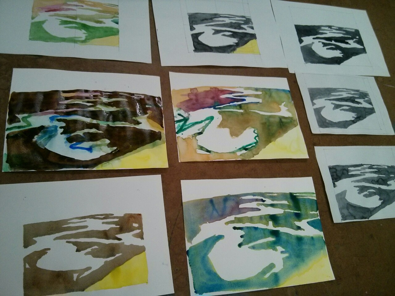 I have been making some watercolours, trying to sort out shapes in the canvases I'm working on.