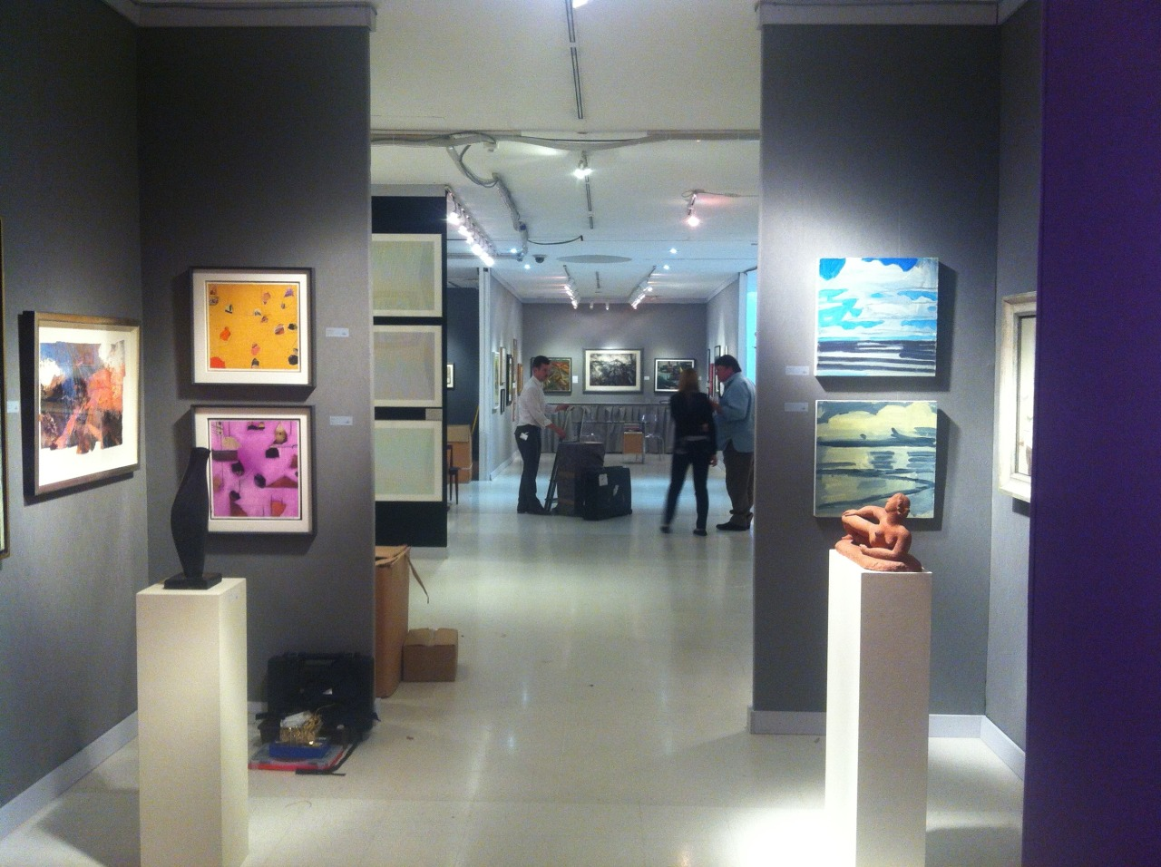 This is part of Messum's stand at last week's 20/21 British Art Fair with two of my small paintings on the right.