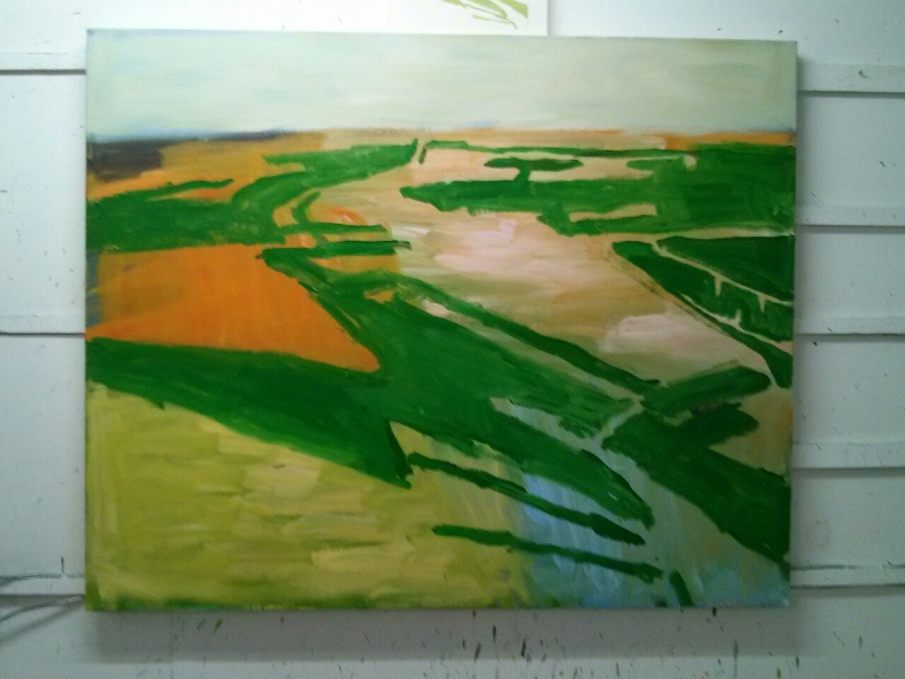 … and now it looks like this. There is something in this now. I need to think about how the horizon meets the sky and sort out the upper left hand edge of the canvas though.