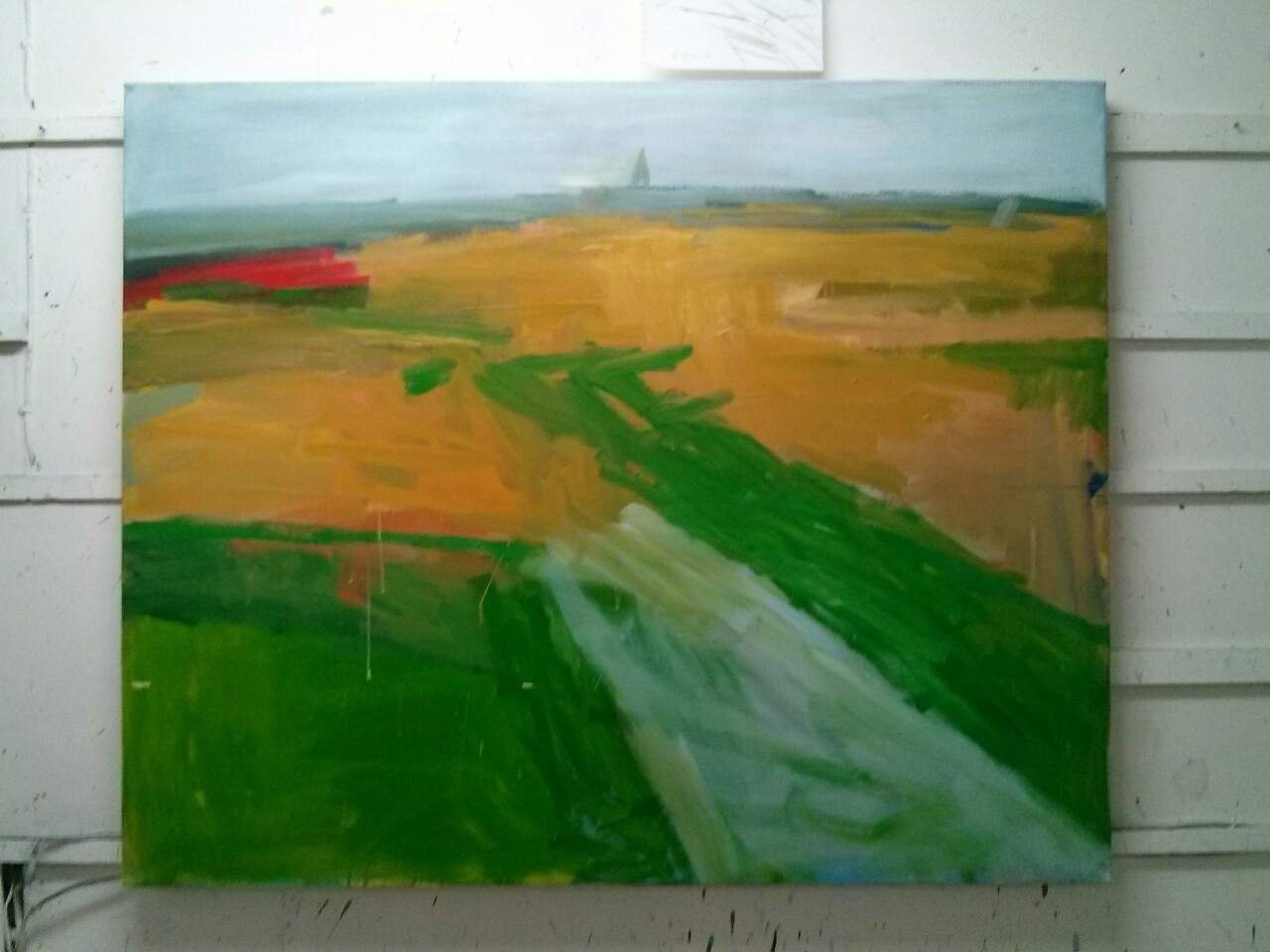 At the end of today it looked like this; although I have painted out that small piece of red on the left.
