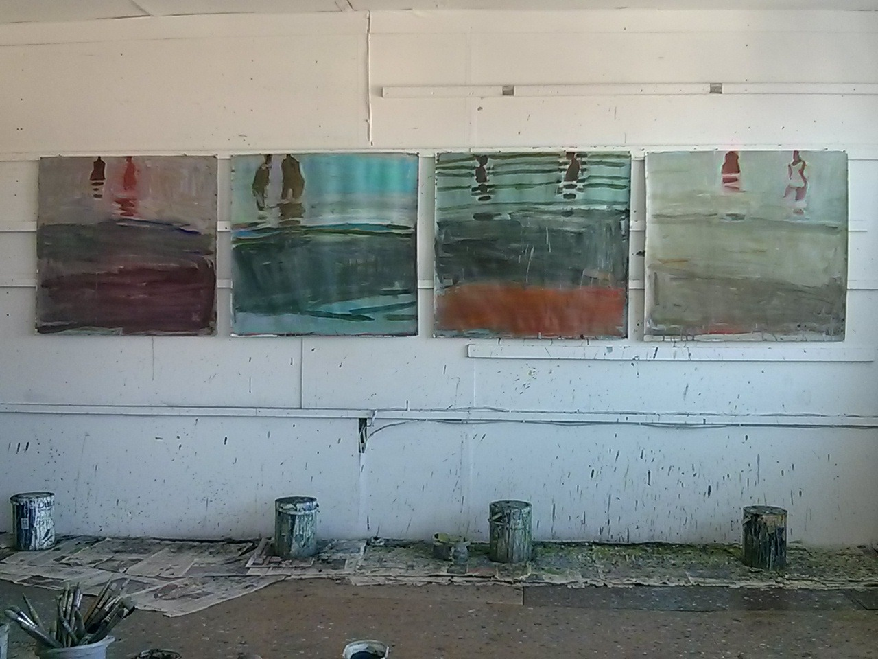 These are some of the new paintings of people swimming that I have been working on. Since the photograph I have made changes to the centre two paintings, especially number 3 which I left in a state of flux when I finished this evening…