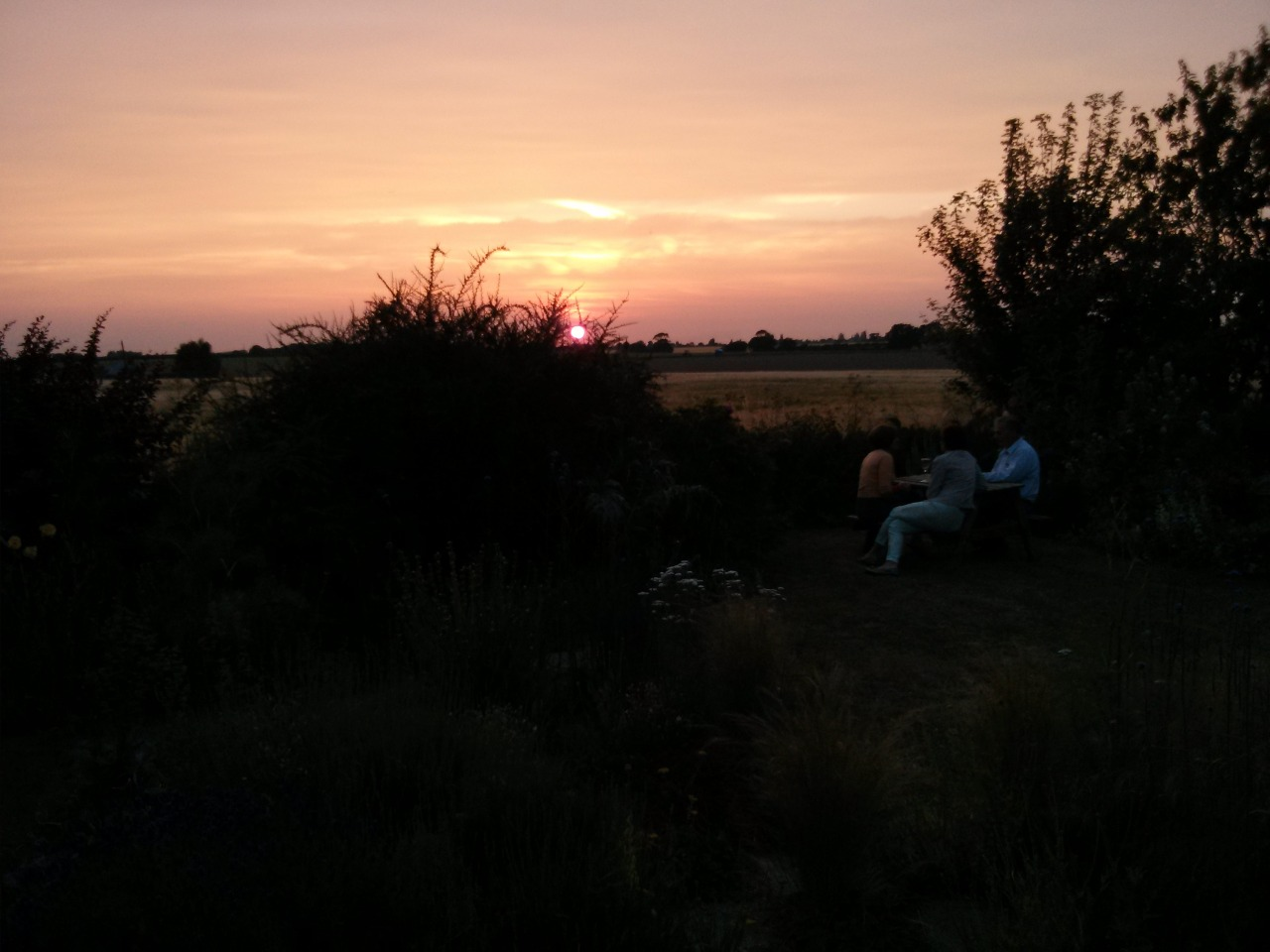 Out with friends last night; the sun settings across the fields.