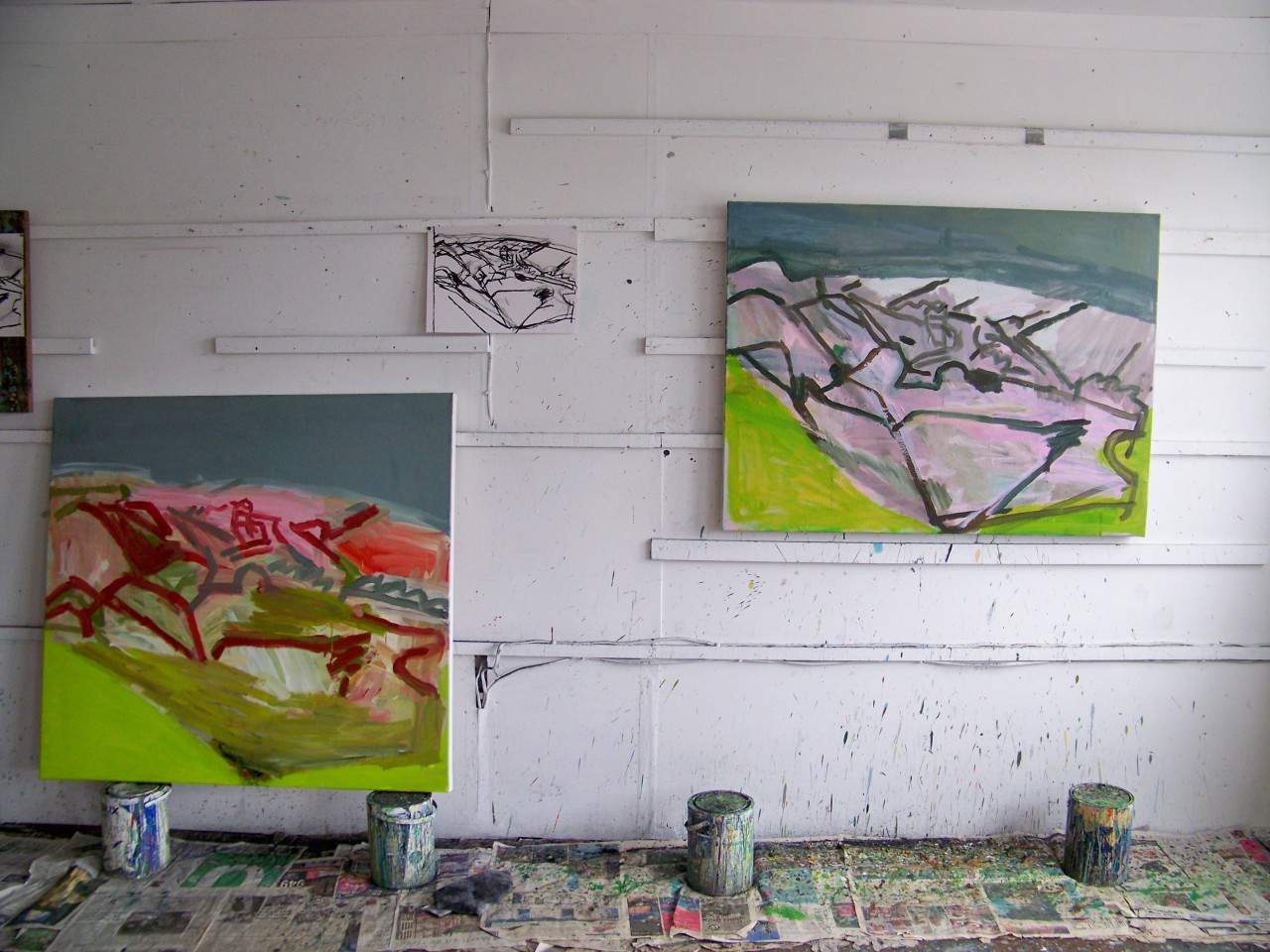 The paintings I am currently working on in the studio. The one on the right is, I think, almost there; I made a few slight changes to it this afternoon. The one on the left…we'll see.