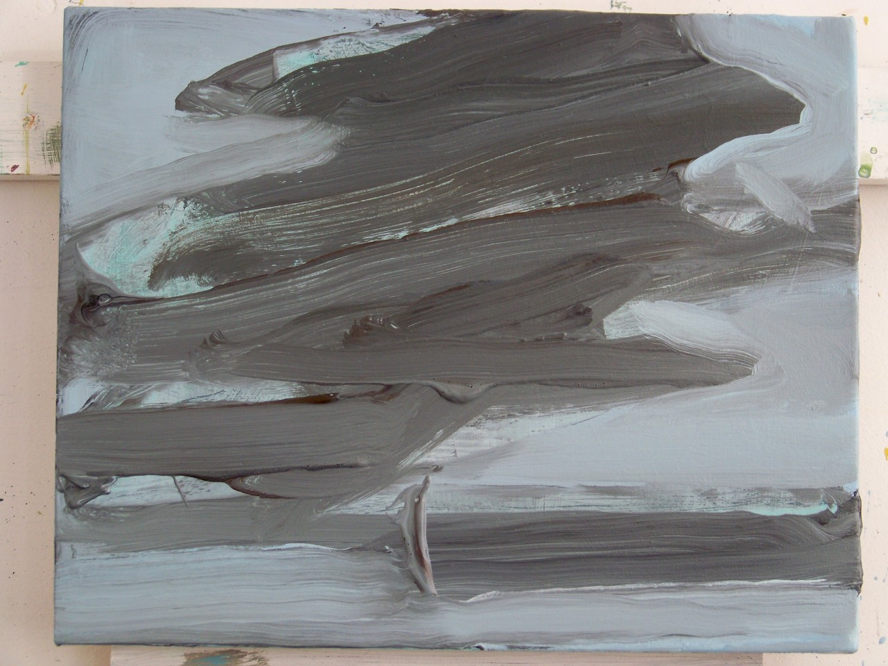 A new small painting, 24 x 30 cm, of a dark cloud over the sea.