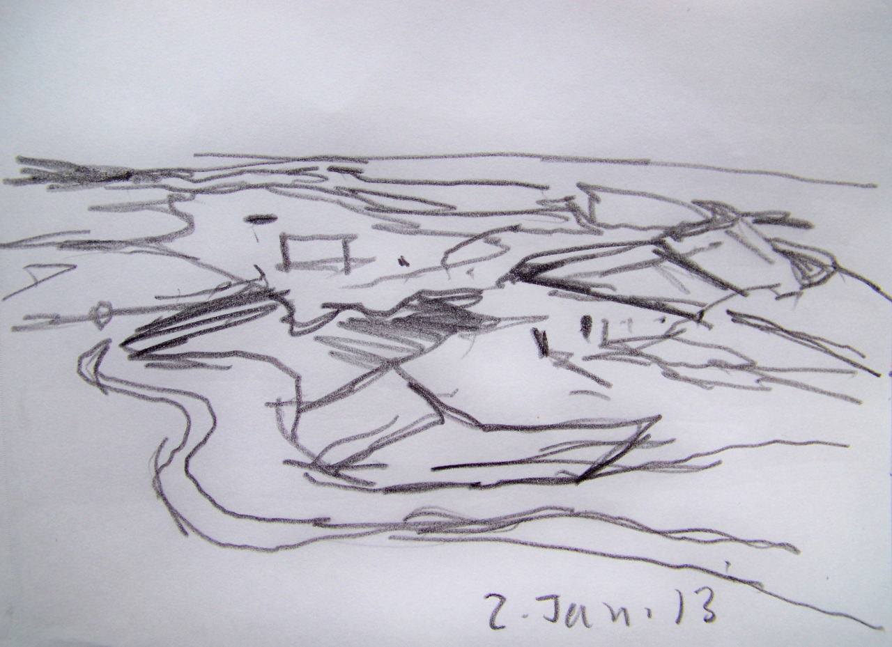 Thinking about getting back to work is alot easier than actually doing it; but I made a proper start today. I went for a long walk along the seafront, past the golf course and across the marshes. Lots of birds about on the flooded fields and on the scrape below the sewer works. Made several drawings and mental notes to return to several places.