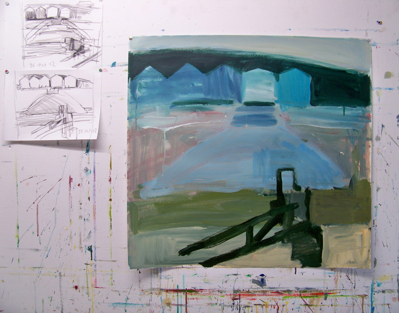 Another new painting on paper. I have been making drawings of the seawall and beach huts and am enjoying having objects back in the paintings after painting just the sea for the last 12 months!