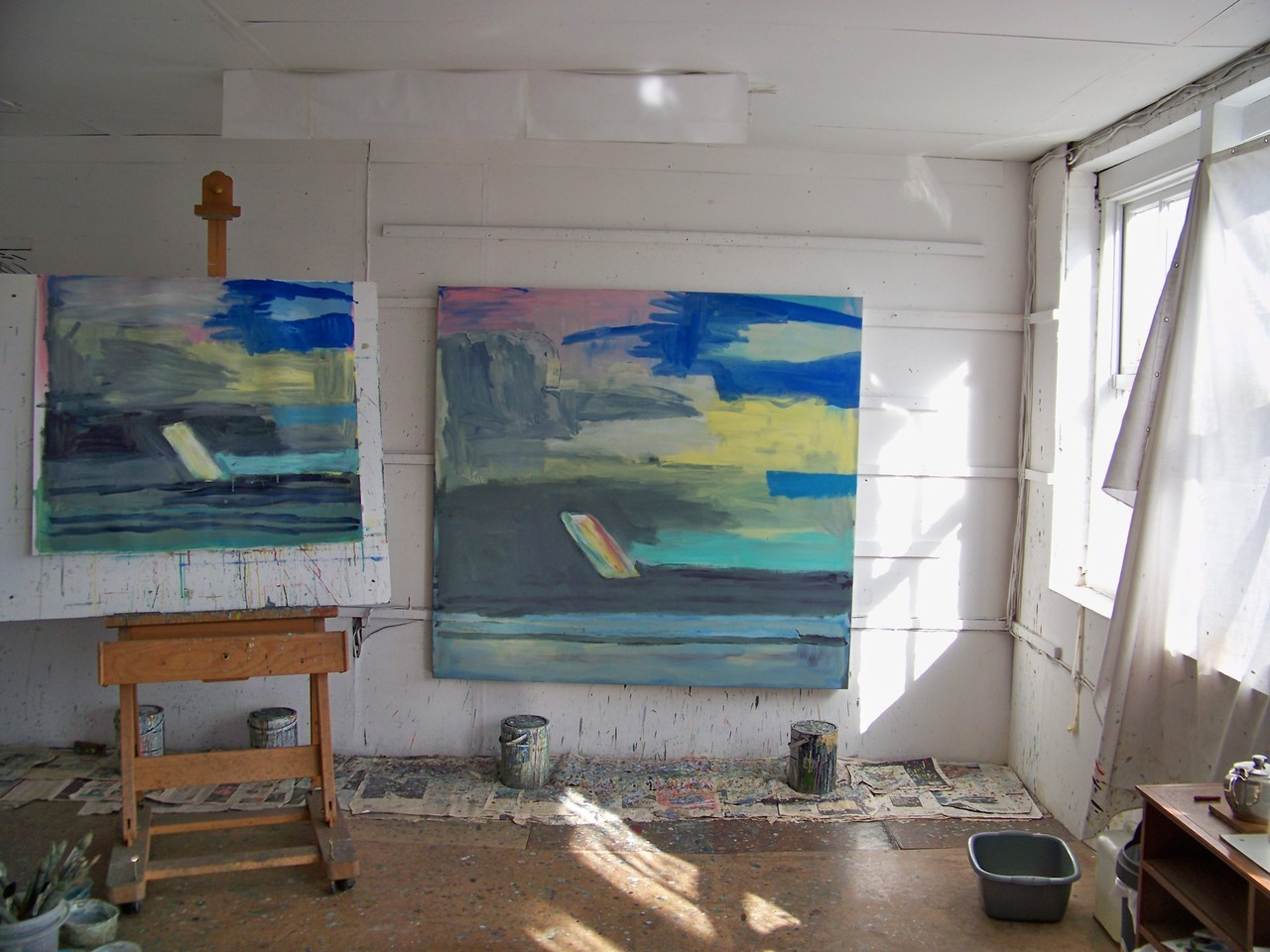 In the studio again this morning after a day doing galleries in London yesterday.