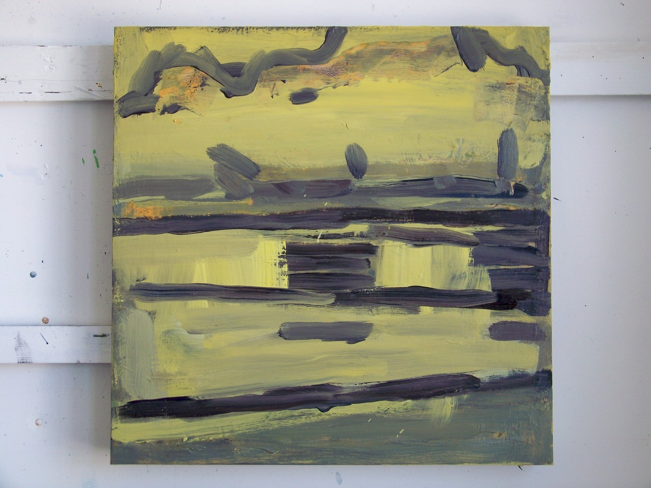 3rd August 2012. One of the paintings that I have been working on this week, based on drawings made a few days agoof a spectacular bank of clouds over the sea at dusk .