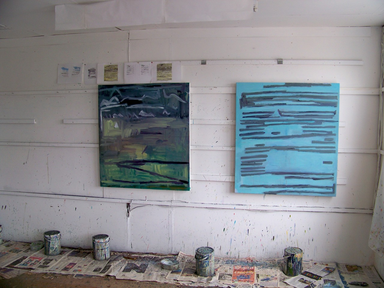 9th July 2012. Two new canvases under way in the studio this afternoon. I had been making drawings of rain clearing over the sea this morning.