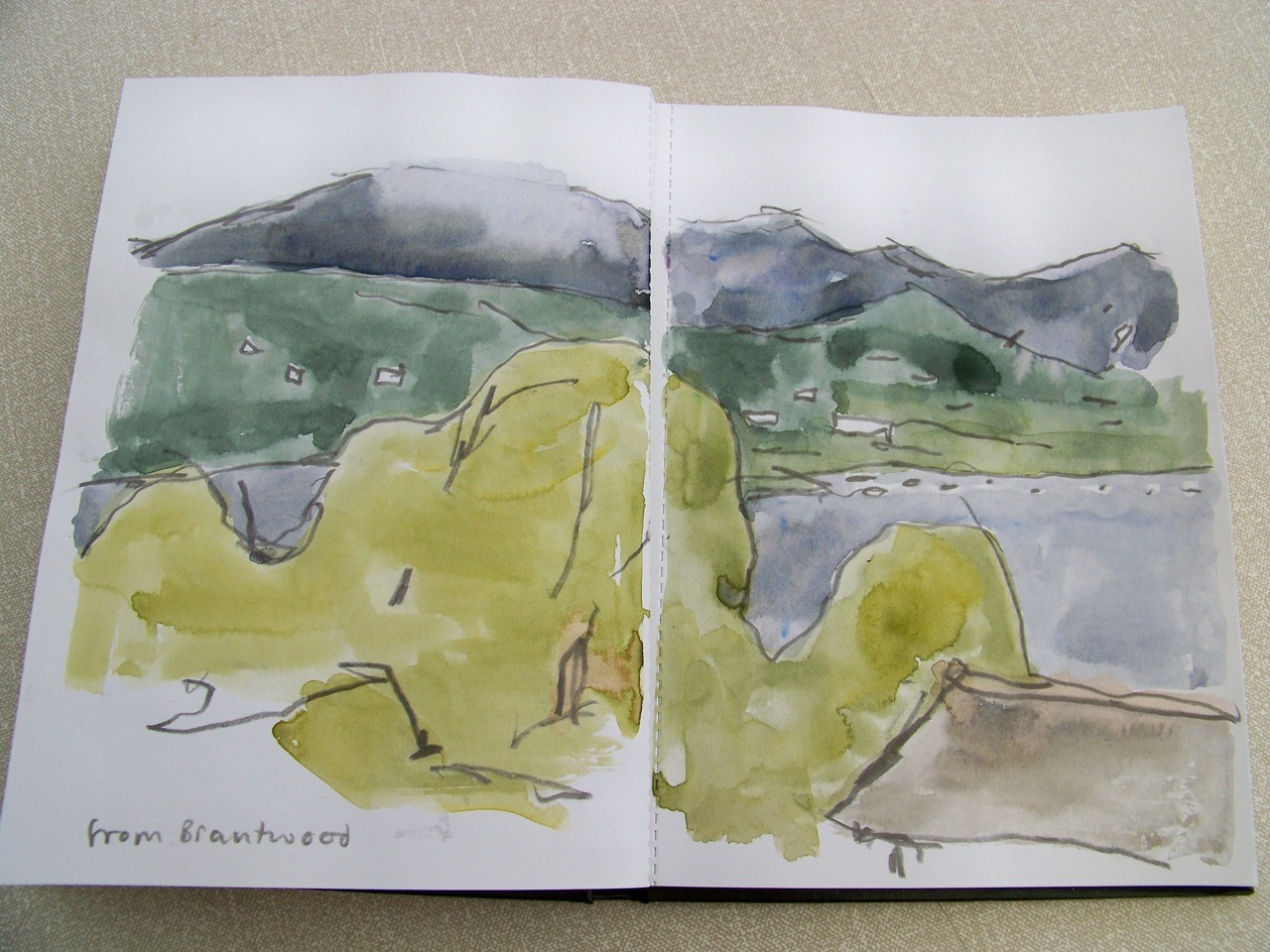 25th June 2012. Back from a weekend in Kendal, Cumbria attending the opening of 'Bacon to Rego' at Abbot Hall. A great weekend despite almost continual rain. This is a watercolour from above Coniston Water.