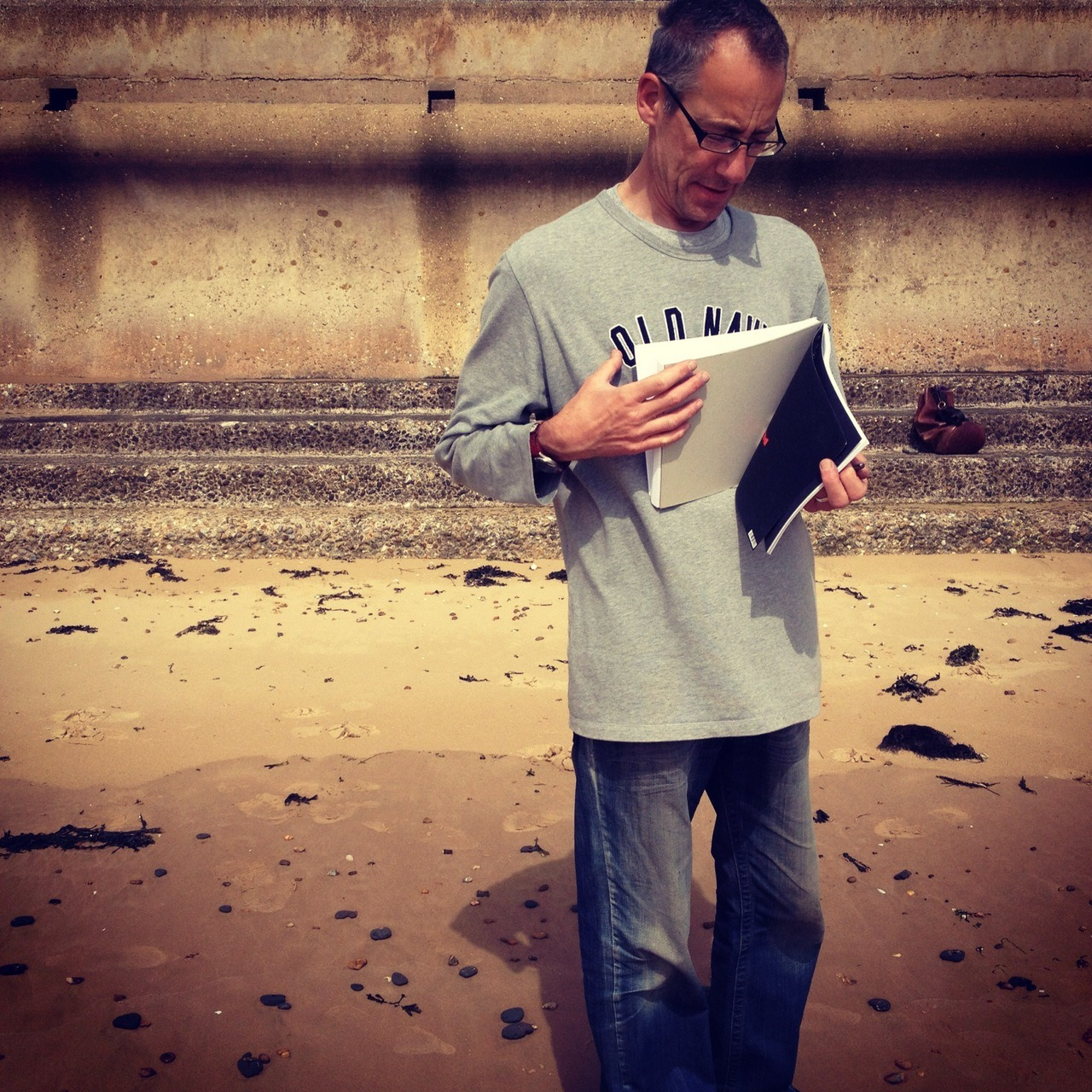 15th June 2012. I was drawing Noah on the beach this morning. Here is one of his photos of me.