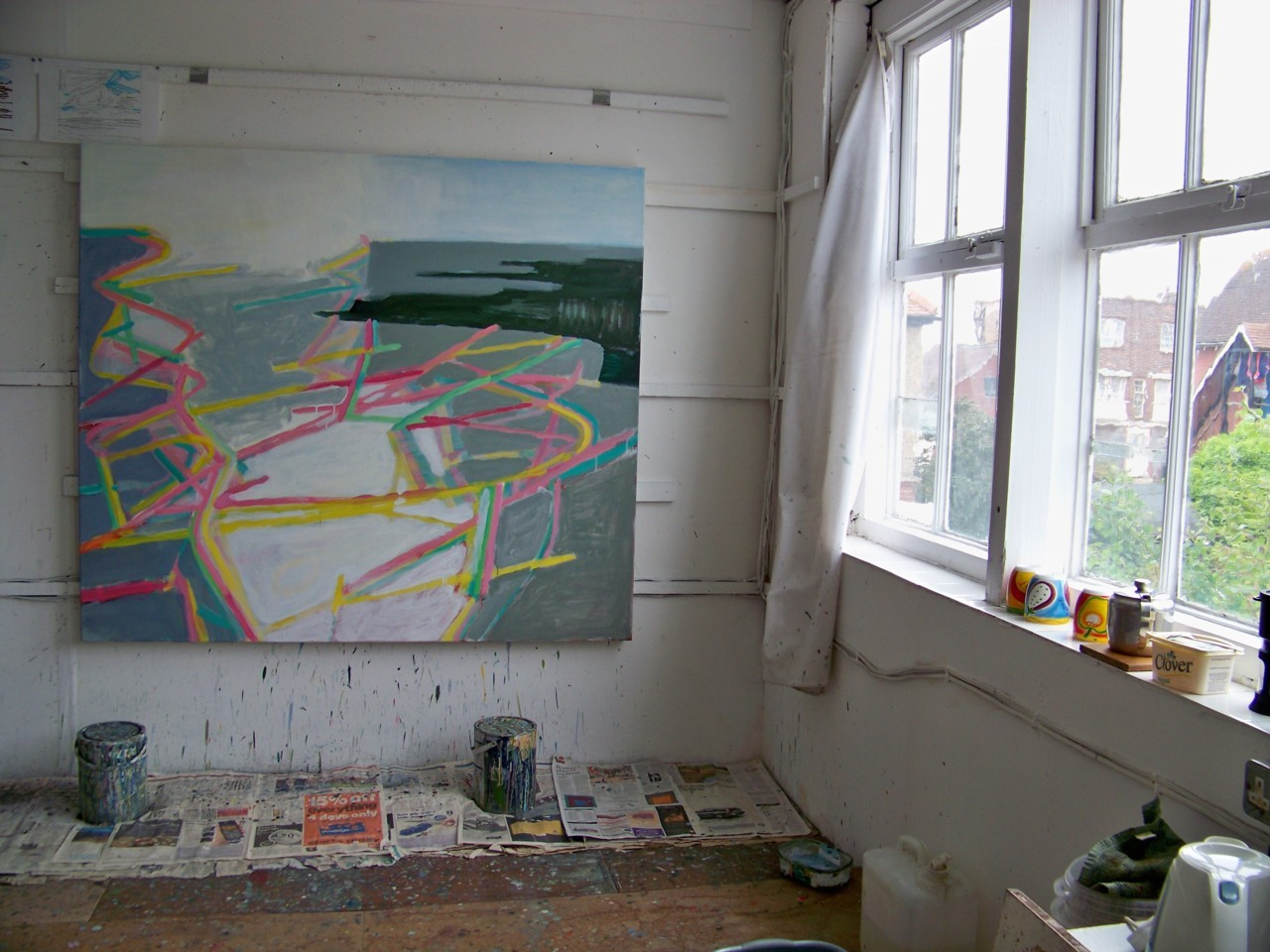 30th May 2012. In the studio this morning. I have been working on this painting for a few months now. I made a few more adjustments today and I think I will work on the horizon at top right tomorrow.