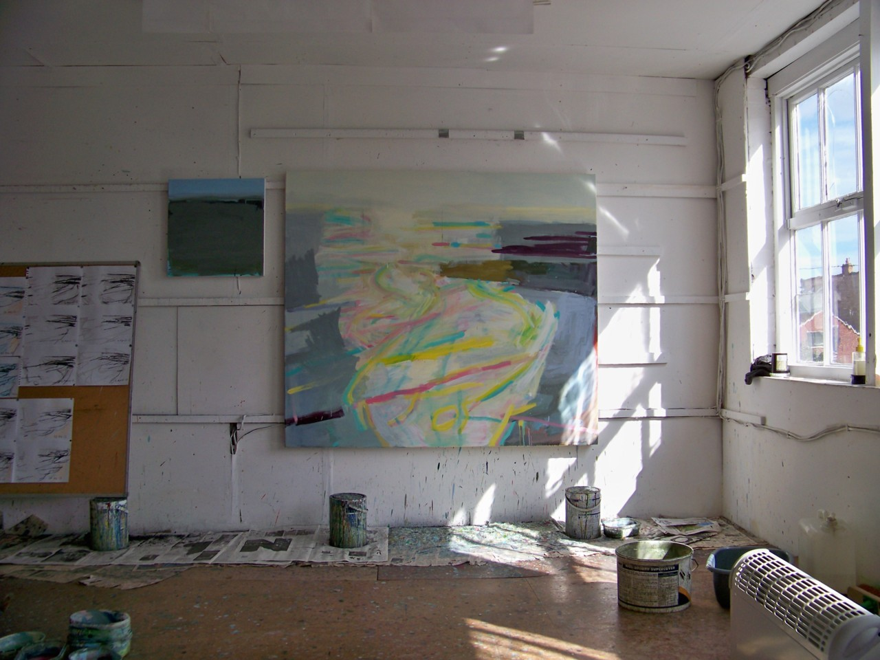 11th April 2012. In the studio. Large and small paintings of the sea in progress.