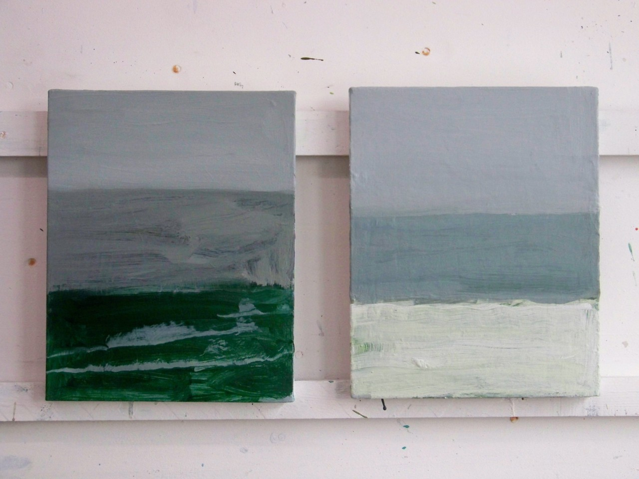 10th February 2012. Two new paintings of the snow and the sea. Each painting is 30 x 24 cm.