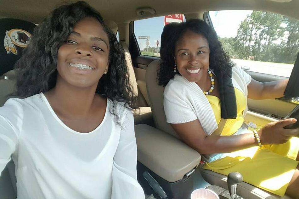 """Kamiyah Mobley (18) and her """"mother,"""" Gloria Williams."""