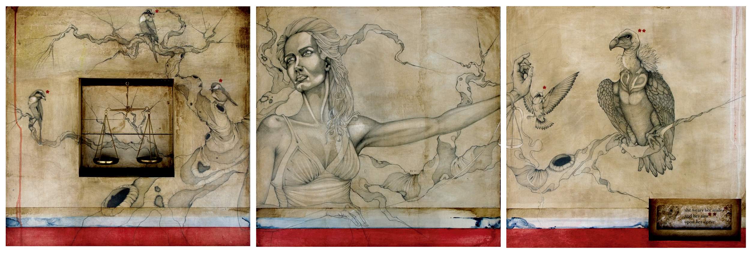 """untitled triptych. 70"""" x 24"""". shapiro private collection"""