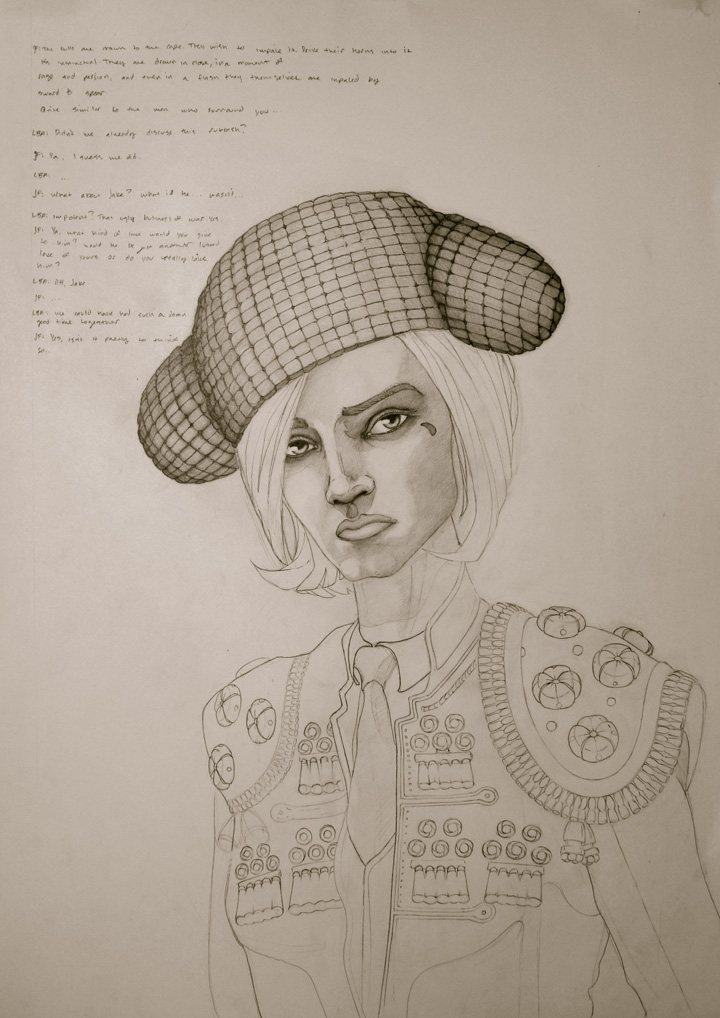 "female matador from monterrey mexico. 19"" x 24"". original sketch, permanently installed in box frame."