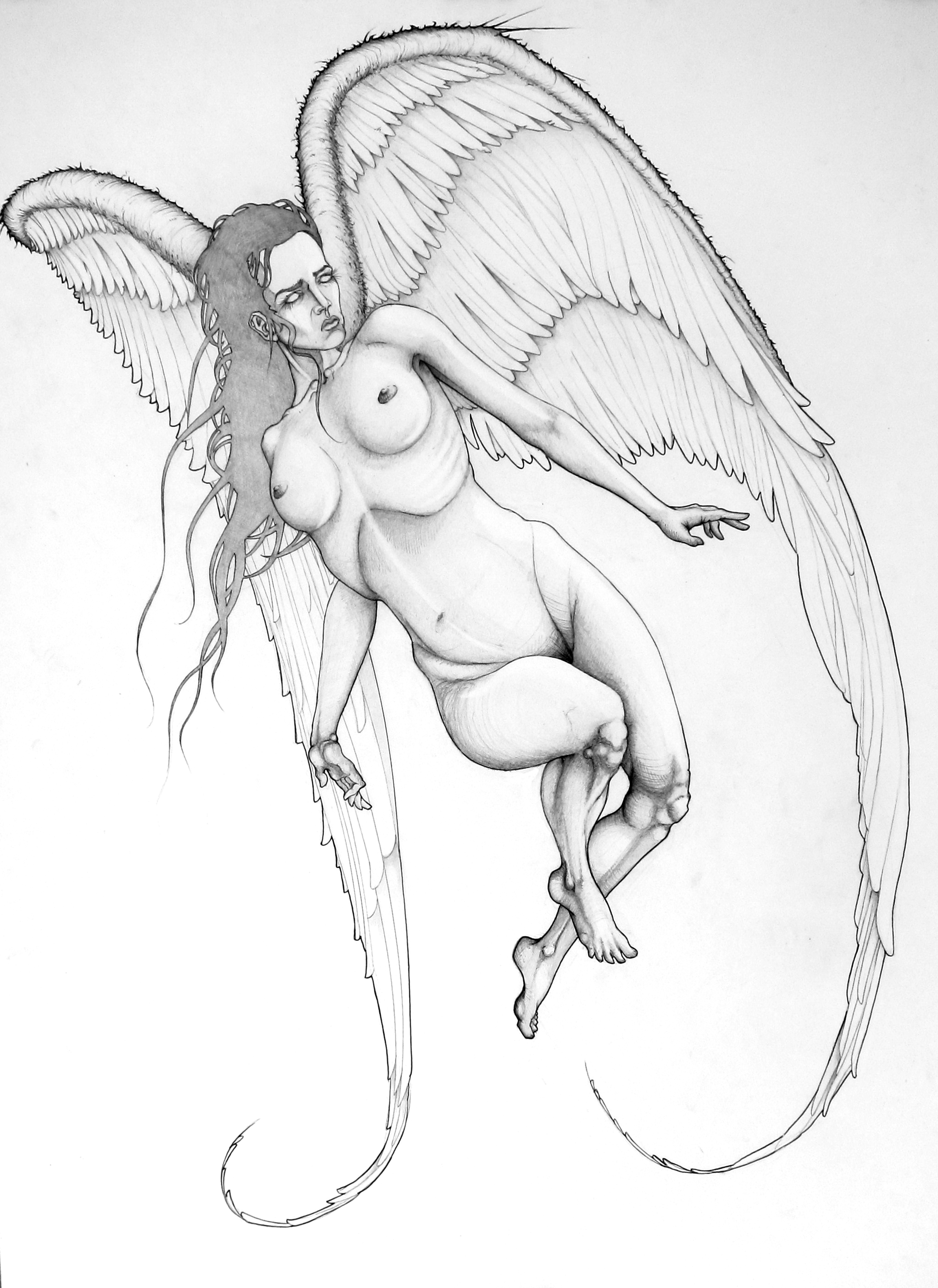 """angel of death. 19"""" x 24"""" property of fisticuff nyc"""