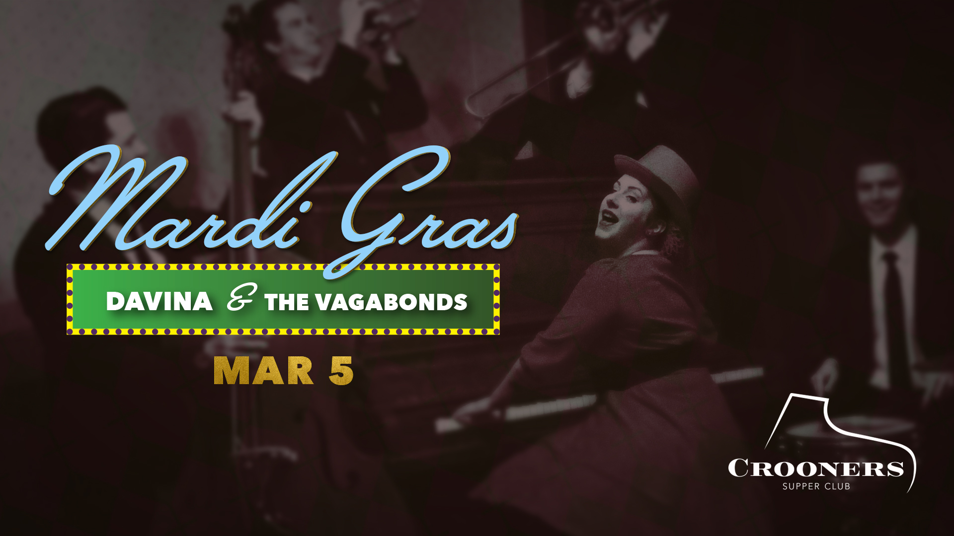 """Mardi Gras with Davina & The Vagabonds - With a voice that """"is a complex, expressive, flexible instrument made of sugar and grit,"""" (Pamela Espeland of MinnPost), Davina and her saintly Vagabonds come marchin' in for a Mardi Gras musical feast like no other. Led by bandleader Davina Lozier, Davina & The Vagabonds is one of this town's favorite and most exciting acoustic ensembles!"""