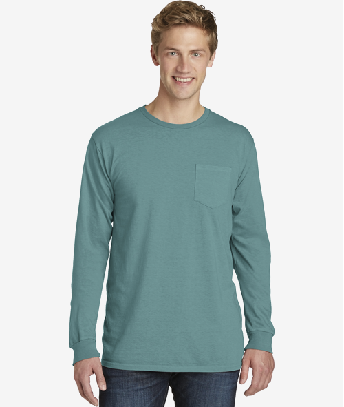 Port & Co LS Pocket Tee - Unisex 5.5 oz Pigment Dyed Cotton