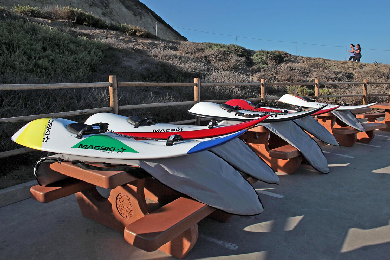 Custom-built waveskis from Macski Surf Gear.